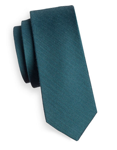 The Tie Bar Solid Silk Tie-GREEN TEAL-One Size