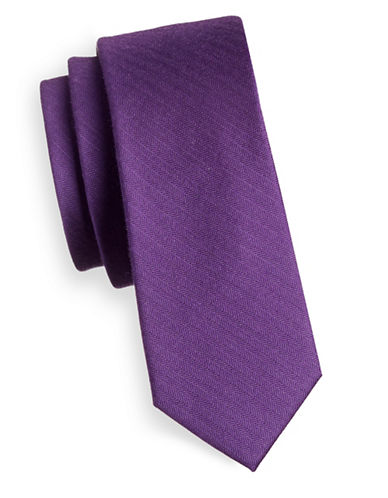 The Tie Bar Solid Silk Tie-PURPLE-One Size