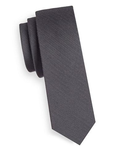 The Tie Bar Slim Textured Wool-Silk Tie-SILVER-One Size