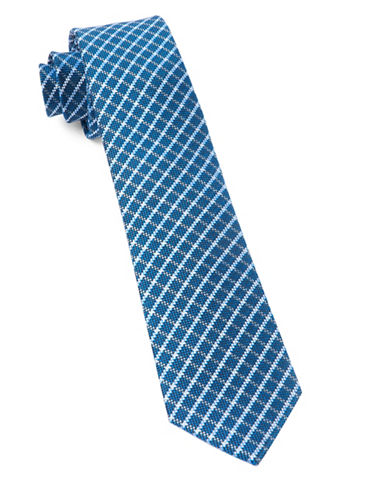 The Tie Bar Textured Check Silk Tie-ROYAL BLUE-One Size