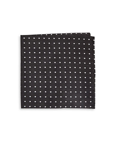 The Tie Bar Dotted Silk Blend Pocket Square-BLACK-One Size