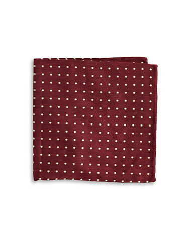 The Tie Bar Dotted Silk and Linen Pocket Square-RED-One Size