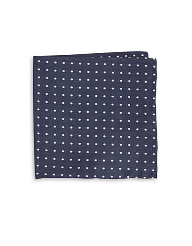 The Tie Bar Dotted Silk Blend Pocket Square-BLUE-One Size