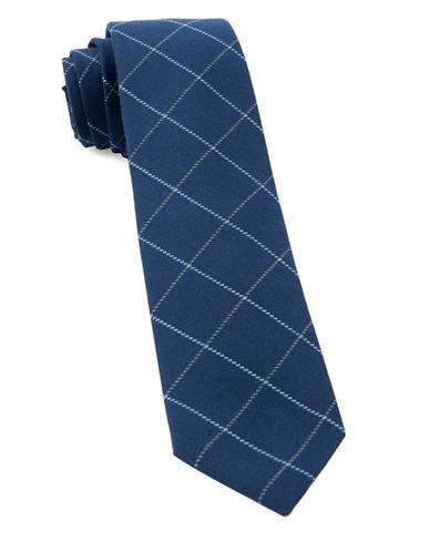 The Tie Bar Goalpost Pane Wool-Blend Tie-NAVY-One Size
