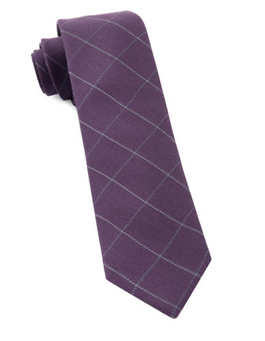 The Tie Bar Goalpost Pane Wool-Blend Tie-EGGPLANT-One Size