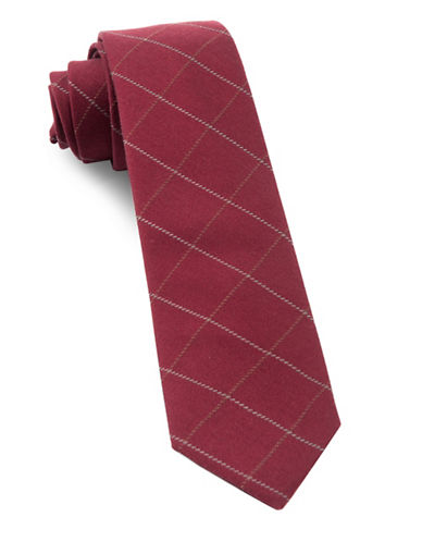 The Tie Bar Goalpost Pane Wool-Blend Tie-BURGUNDY-One Size
