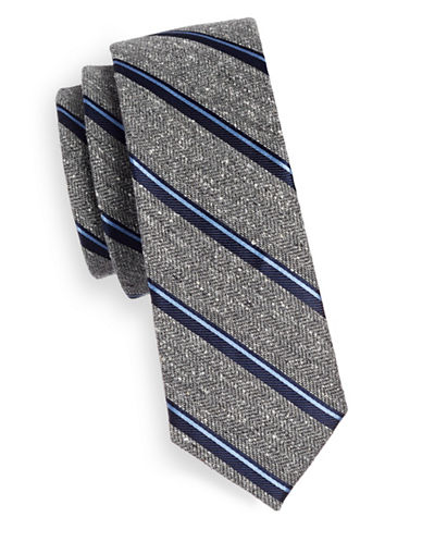 The Tie Bar Spirit Striped Silk Tie-NAVY-One Size