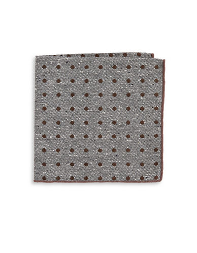 The Tie Bar Polka Dot Silk Pocket Square-BROWN-One Size