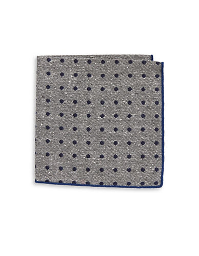 The Tie Bar Polka Dot Silk Pocket Square-NAVY/GREY-One Size