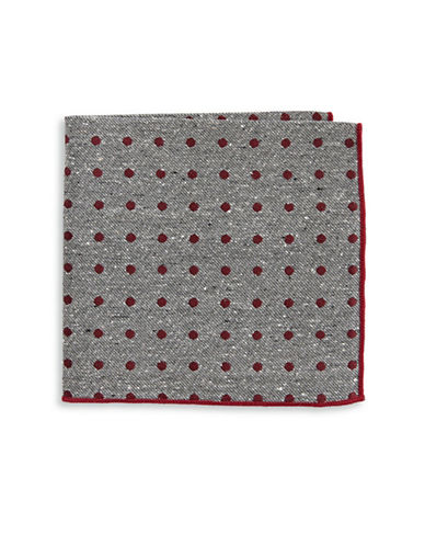 The Tie Bar Polka Dot Silk Pocket Square-BURGUNDY-One Size
