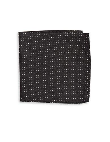 The Tie Bar Polka Dot Silk Pocket Square-BLACK-One Size