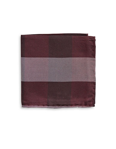 The Tie Bar Gingham Wool-Silk Pocket Square-BURGUNDY-One Size