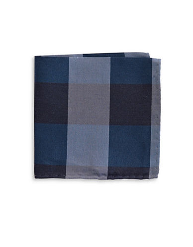 The Tie Bar Gingham Wool-Silk Pocket Square-NAVY-One Size