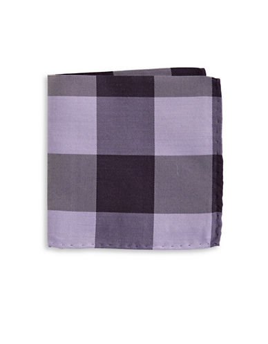 The Tie Bar Gingham Wool-Silk Pocket Square-PURPLE-One Size
