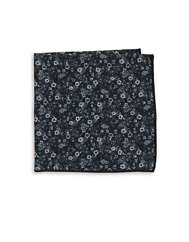 The Tie Bar Floral Print Wool Pocket Square-BLACK-One Size