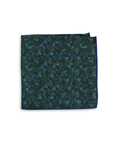 The Tie Bar Floral Print Wool Pocket Square-GREEN-One Size