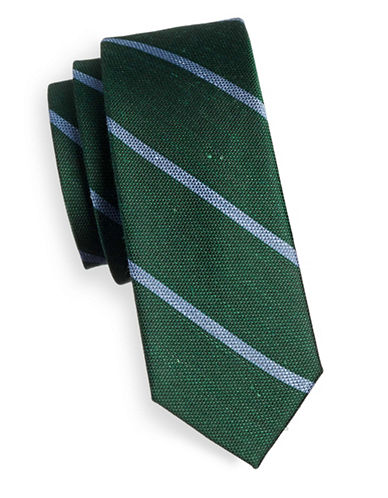 The Tie Bar Striped Linen and Silk Tie-GREEN-One Size