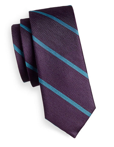 The Tie Bar Striped Linen and Silk Tie-PURPLE-One Size
