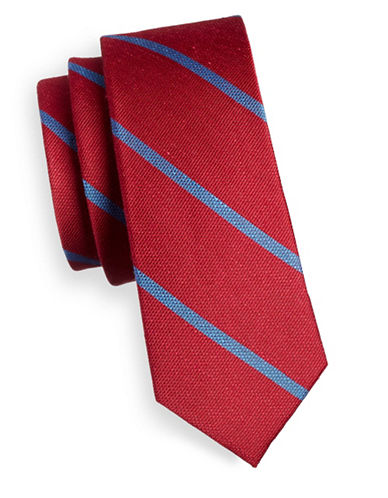 The Tie Bar Striped Linen and Silk Tie-RED-One Size