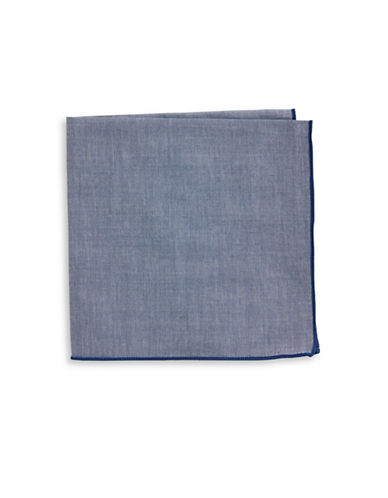 The Tie Bar Chambray Border Pocket Square-NAVY-One Size