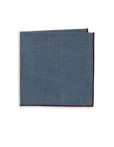 The Tie Bar Denim Chambray Pocket Square-BLUE-One Size