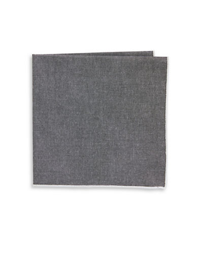 The Tie Bar Chambray Border Pocket Square-WHITE-One Size