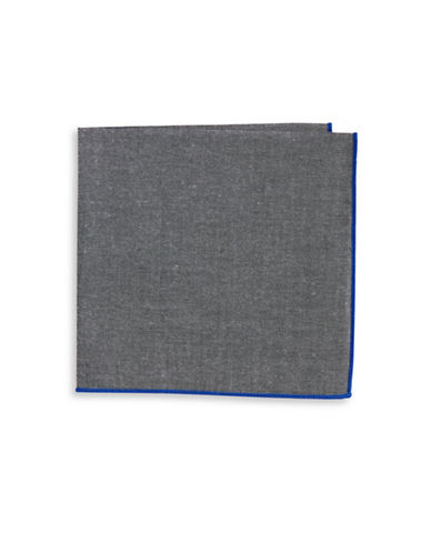 The Tie Bar Chambray Pocket Square-GREY-One Size