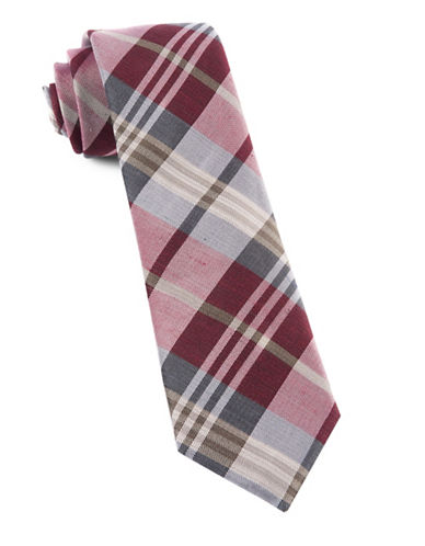The Tie Bar Crystal Wave Plaid Tie-BURGUNDY-One Size