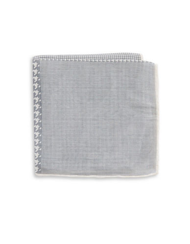 The Tie Bar Houndstooth Linen-Silk Pocket Square-SILVER-One Size