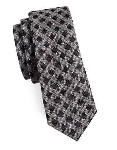 The Tie Bar Cement Check Silk Tie-BLACK-One Size