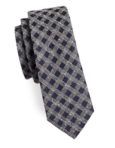 The Tie Bar Cement Check Silk Tie-NAVY-One Size