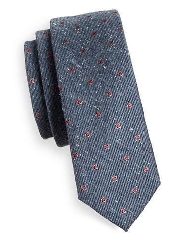 The Tie Bar Floral Medallion Silk Tie-BLUE-One Size