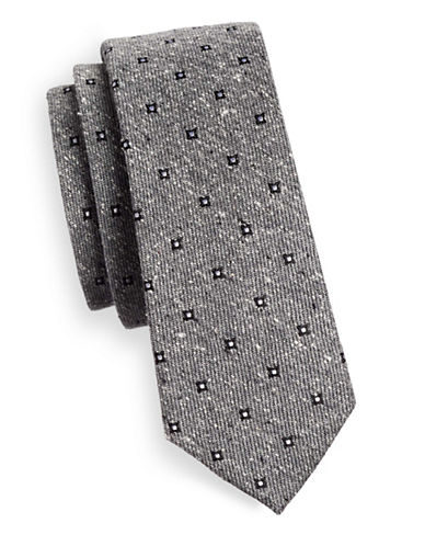 The Tie Bar Floral Medallion Silk Tie-GREY-One Size