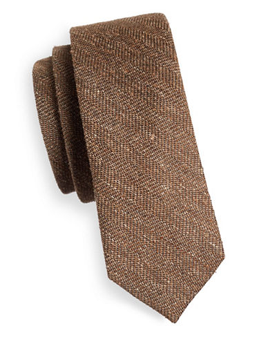 The Tie Bar Threaded Zig-Zag Silk Tie-BROWN-One Size