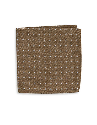 The Tie Bar Polka dot Silk Handkerchief-BROWN-One Size