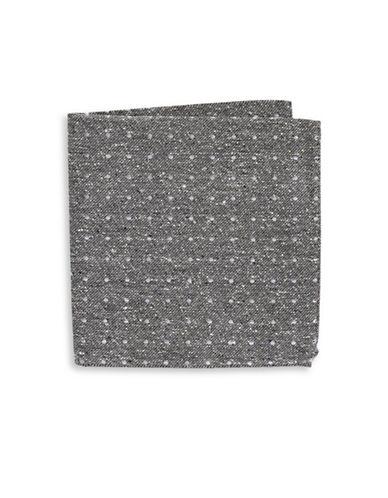 The Tie Bar Polka Dot Silk Pocket Square-GREY-One Size