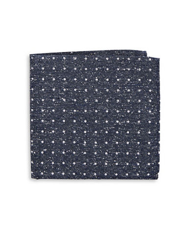 The Tie Bar Polka Dot Silk Pocket Square-NAVY-One Size