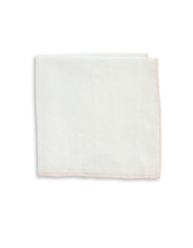 The Tie Bar Border Linen Pocket Square-WHITE-One Size