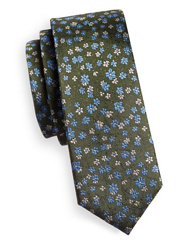 The Tie Bar Free Fall Floral Silk Tie-GREEN-One Size