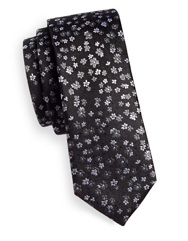 The Tie Bar Free Fall Floral Silk Tie-BLACK-One Size