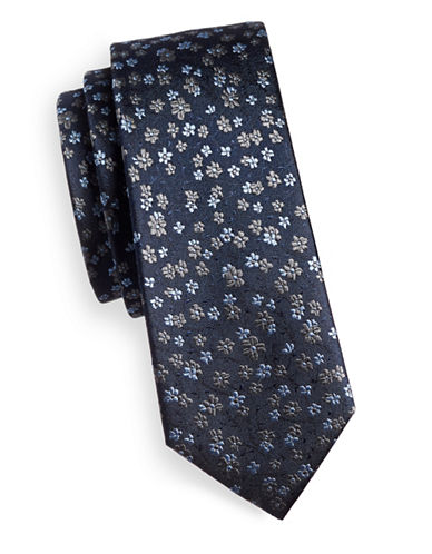 The Tie Bar Free Fall Floral Silk Tie-NAVY-One Size