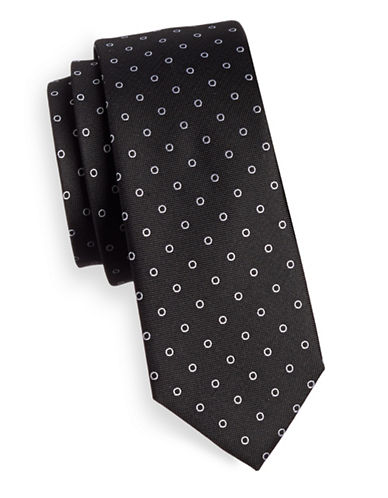 The Tie Bar Round Dot Silk Tie-BLACK-One Size