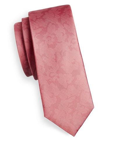 The Tie Bar Floral Silk Tie-ORANGE-One Size