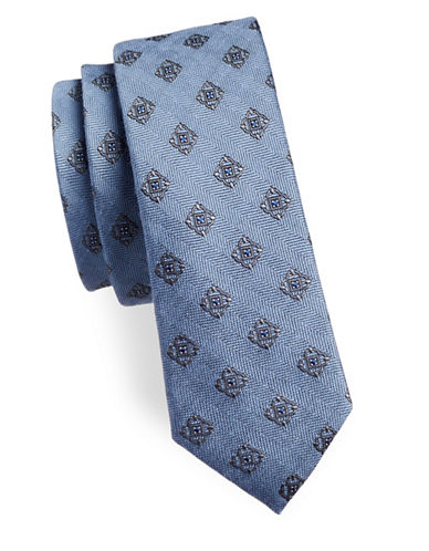 The Tie Bar Medallion Shield Silk-Blend Tie-LIGHT BLUE-One Size