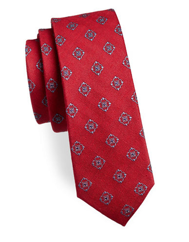 The Tie Bar Medallion Shield Silk-Blend Tie-RED-One Size