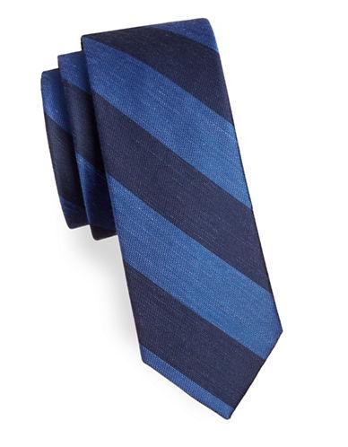 The Tie Bar RSVP Stripe Silk-Blend Tie-NAVY-One Size