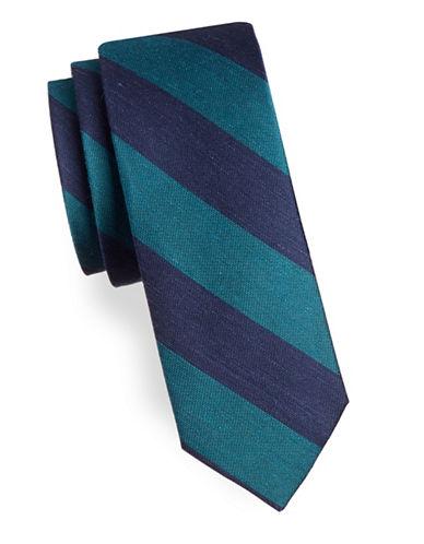 The Tie Bar RSVP Stripe Silk-Blend Tie-TEAL-One Size