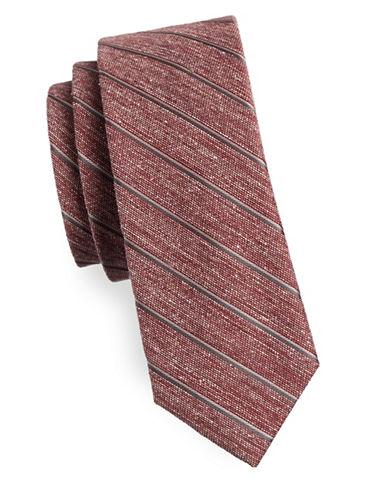 The Tie Bar Pike Stripe Silk Tie-RED-One Size