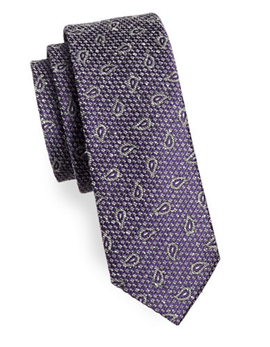 The Tie Bar Pine Lake Paisley Silk Tie-PURPLE-One Size