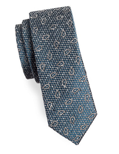 The Tie Bar Pine Lake Paisley Silk Tie-TEAL-One Size